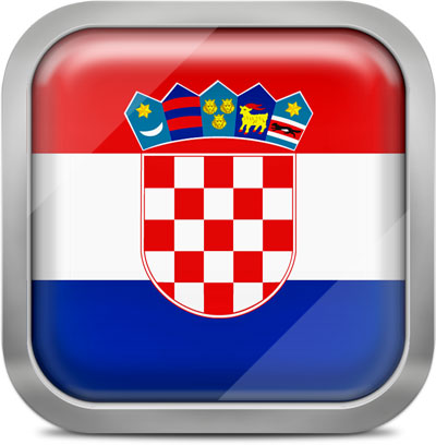 Croatia square flag with metallic frame