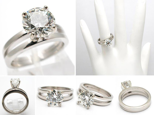 Hermoso anillo moderno de compromiso