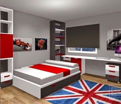 El dormitorio de la fotografia esta combinado en blanco - Habitaciones juveniles en gris y blanco ...
