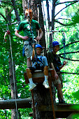 Hunter getting ready to zip-line