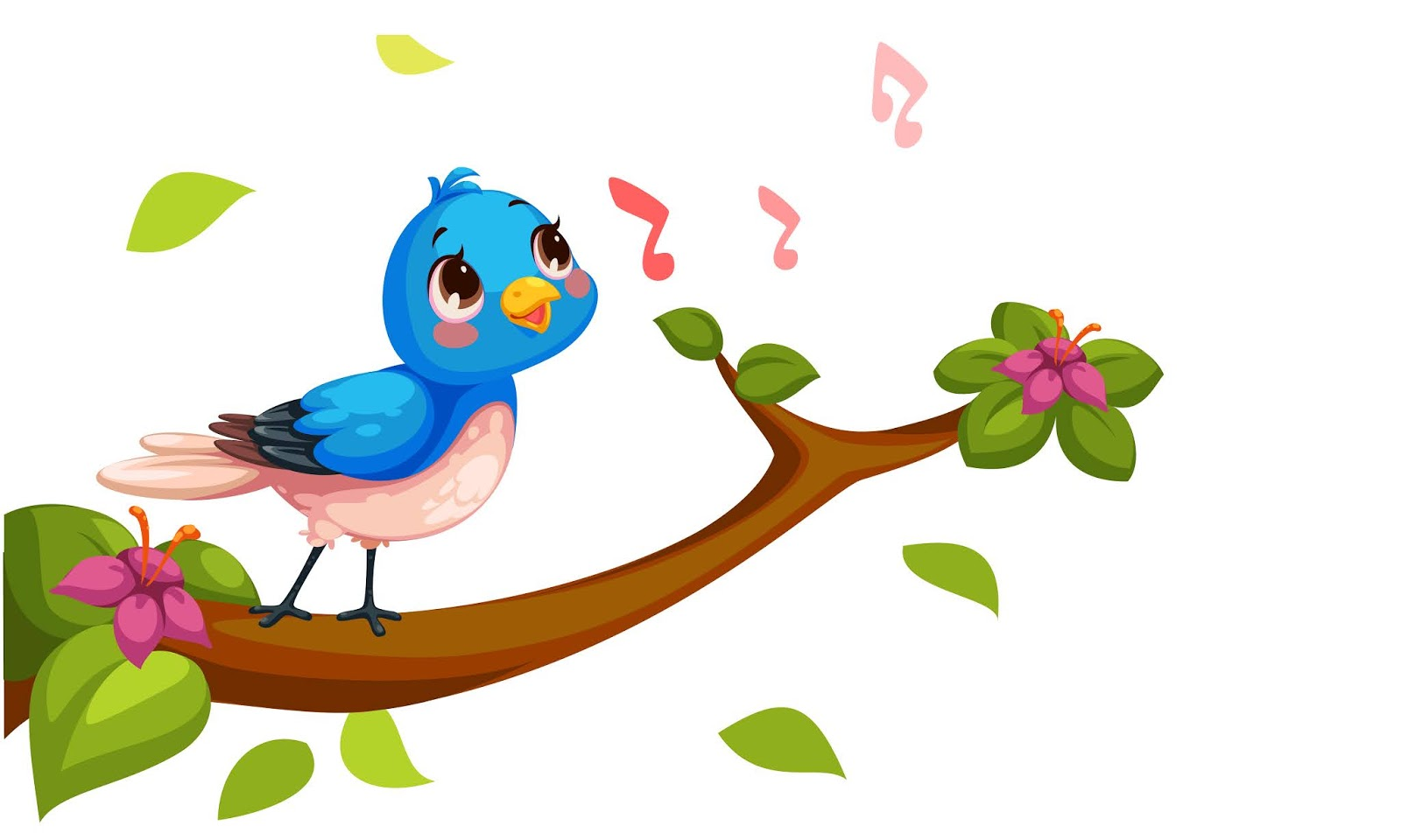 Cute Nightingale Singing Cartoon Vector Free Download Vector CDR, AI, EPS and PNG Formats