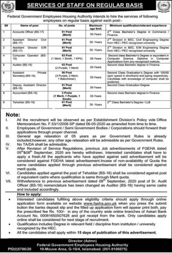 New Federal Government Employees Housing Authority Jobs 2021 (Age 18-35) Islamabad Jobs  by www.newjobs.pk
