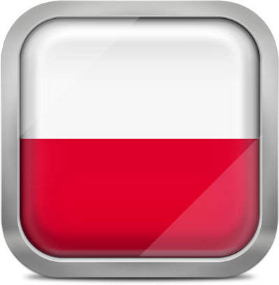 Poland square flag with metallic frame