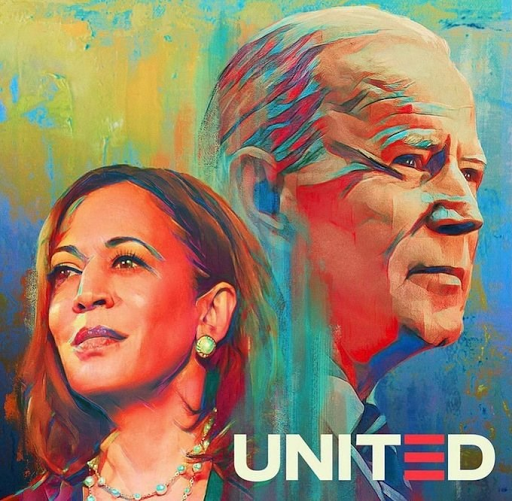 "Biden and Harris watercolor with the word ""United"""