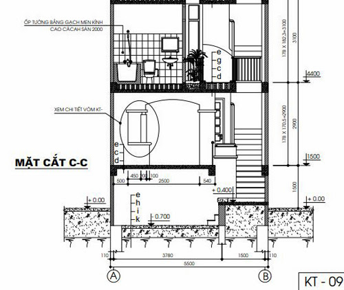 Mặt cắt C-C tầng 1 và tầng 2