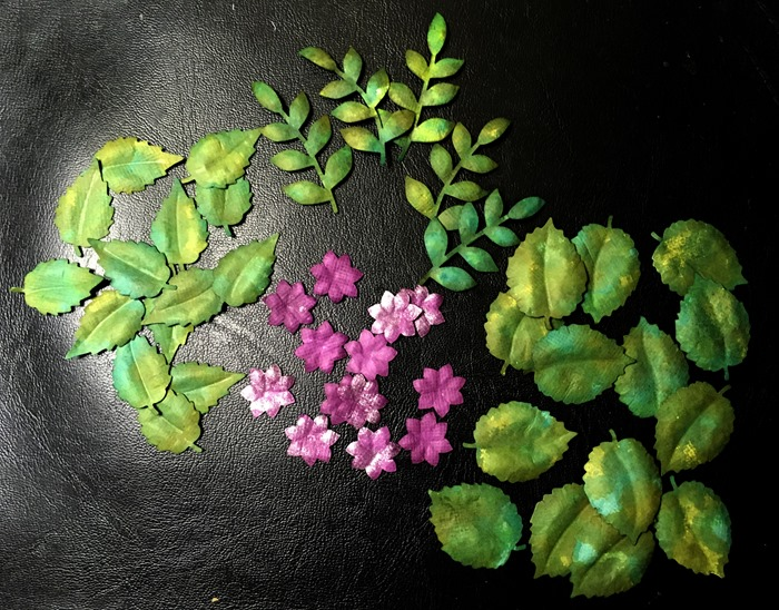 49 Green Leaves and Tiny Purple Flowers