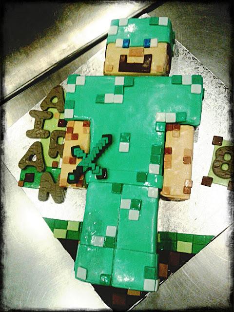 minecraft cake, steve cake, minecraft
