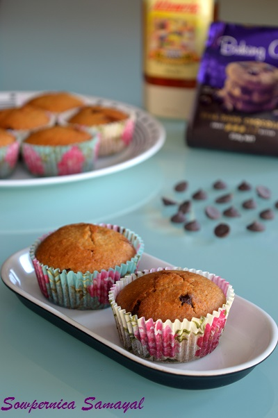 Honey Choc-chip muffins (No butter, no sugar preparation)