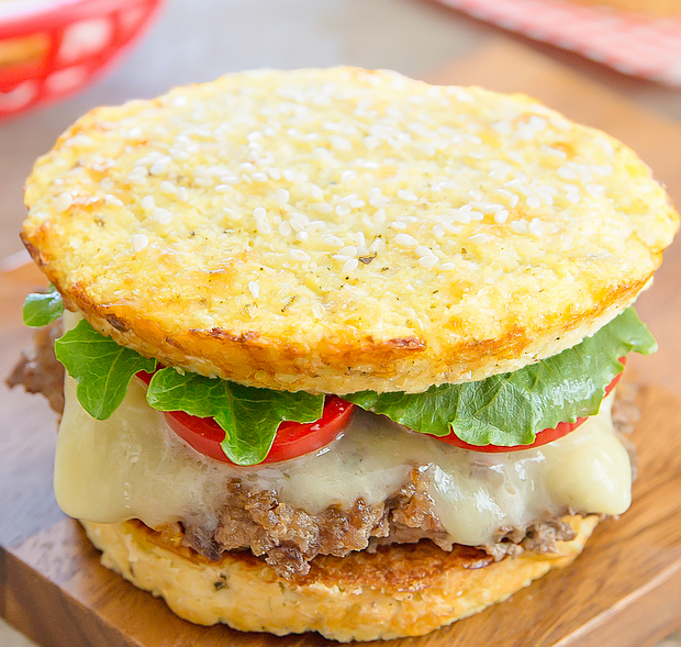 a close-up photo of a burger with Cauliflower Bread Buns
