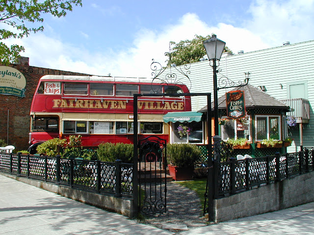 Enjoy some local favorites from a double decker bus at Jacci's Fish & ChipsCredit: Taimi Gorman