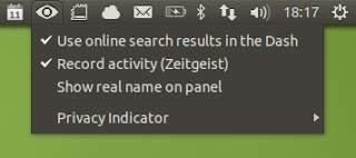 Indicador de privacidad  Unity: Permite activar o desactivar rápidamente resultados de búsqueda en línea o registro de Zeitgeist en el Dash