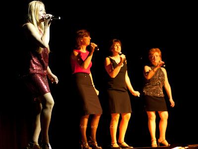 "Barbara Merkle singing ""Mama Said"".  Backup: Left to right - Gerry Cheripka, Stacey Vitacco, and Maria Mattis.Photos by TOM HART/  FREELANCE PHOTOGRAPHER"