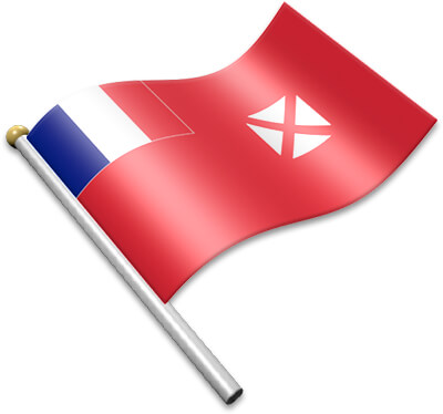 The Wallis and Futuna flag on a flagpole clipart image