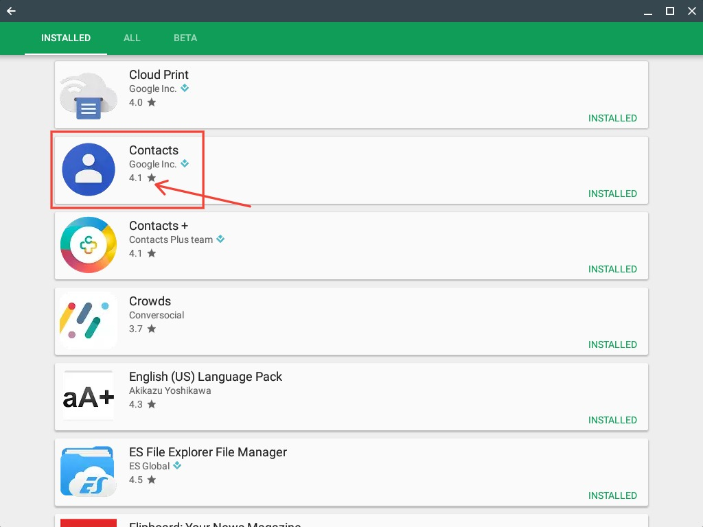 Cannot Google Contacts app on shelf - Ayuda de Chromebook