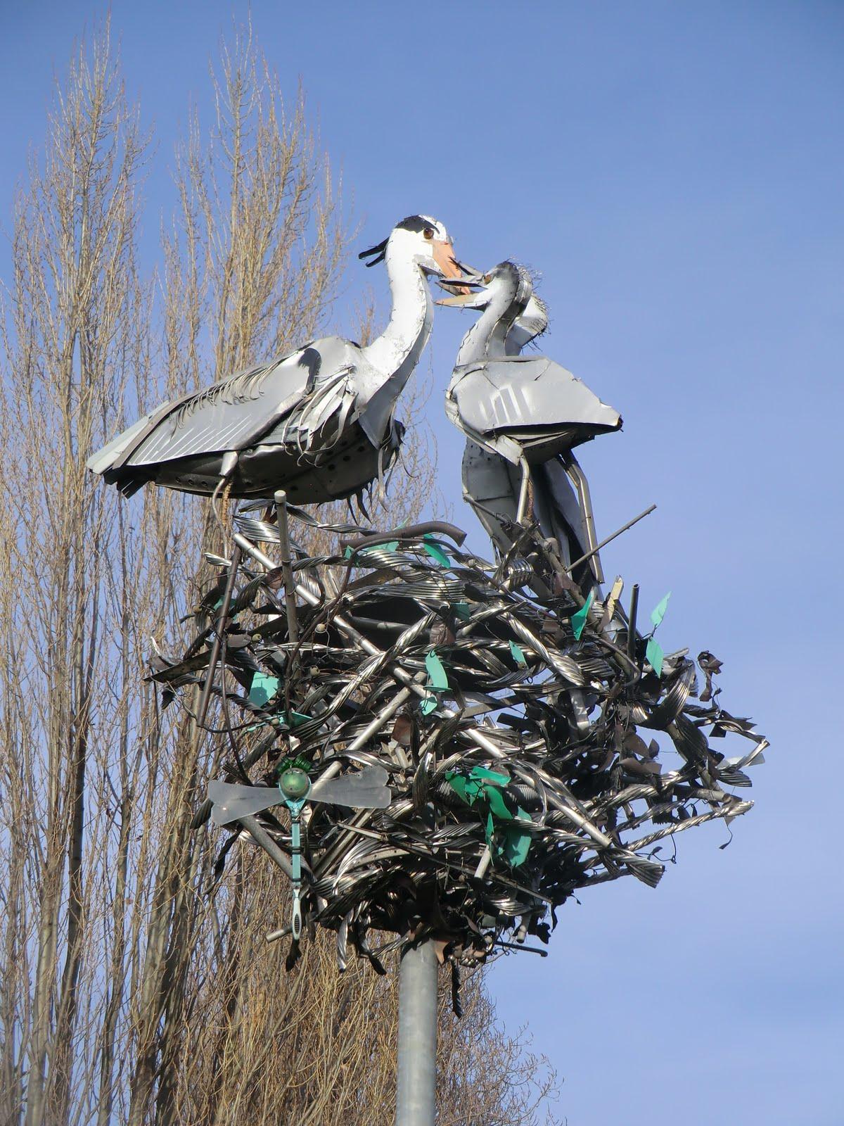 "CIMG2091 ""The Fantastic Herons"" sculpture, Dukes Meadows"