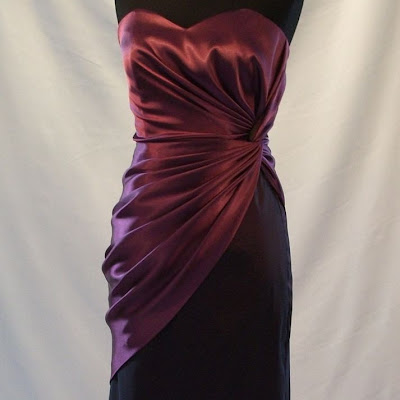 Side-Twisted Dress. Two-Tone Satin