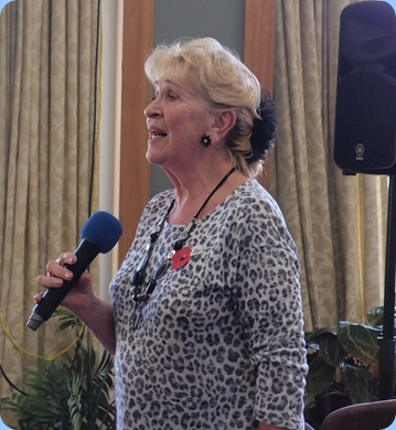 Our Host for the Day, Margaret Black, who sang for us with Reg accompanying on the grand piano. Photo Courtesy of Dennis Lyons.