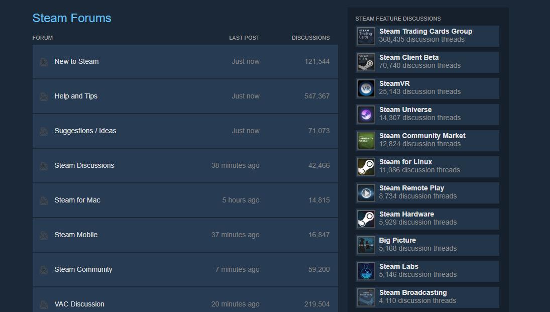 Steam Forums