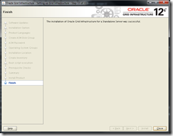Oracle Grid Infrastructure 12c Installer - Finish