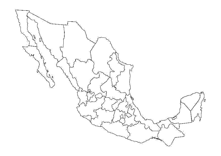 Mapa de México para colorear