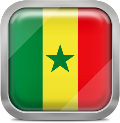 Senegal square flag with metallic frame