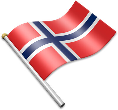 The Norwegian flag on a flagpole clipart image
