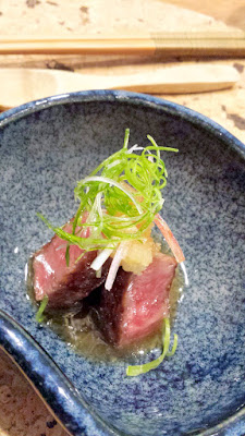 Second style of preparation of A5 Wagyu, grilled over charcoal with crushed daikon, fermented yuzu skin, peppers, and ginger blossom at Nodoguro SupaHardCore May 29, 2016