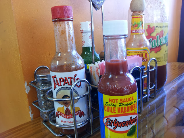 Mexican condiments at Taqueria Mixteca, Dayton