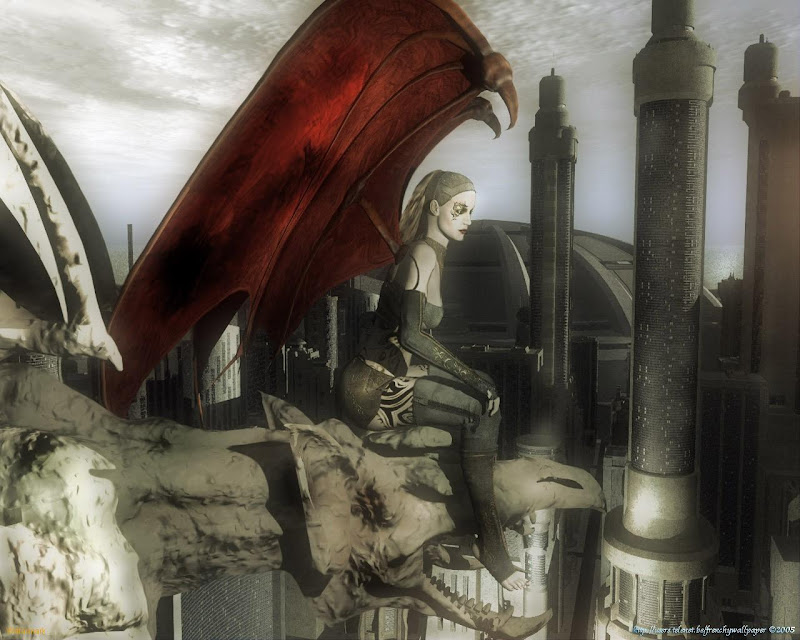 Gothic Angel Overlooking City, Angels 1