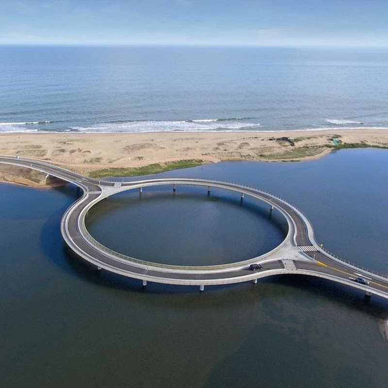 The Circular Laguna Garzon Bridge in Uruguay