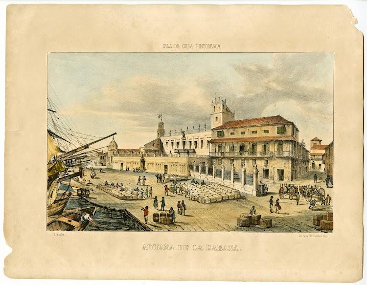 University of Miami. Library. Cuban Heritage Collection. Litografia de Frederic Mialhe de la Aduana de la Habana. Del album isla de Cuba Pintoresca.jpg
