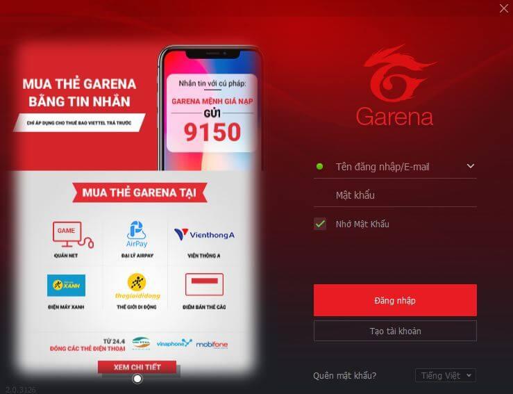 Cập nhật Garena PC