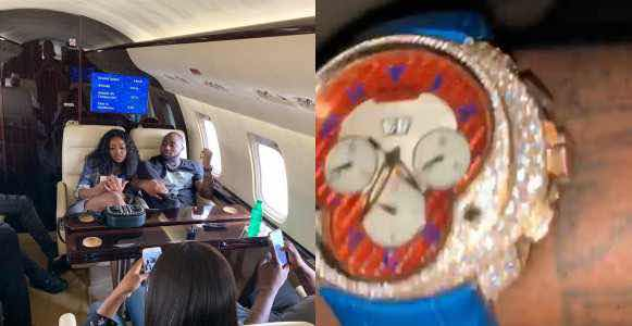Davido Flaunts His Newly Acquired Over ₦90 Million Diamond Encrusted Wristwatch (Photos)