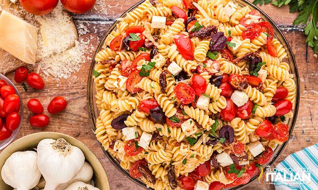 Tomato Feta Pasta Salad in a bowl - overhead shot