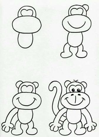 تعاليم كيف رسم القرد في خطوات سهله وبسيطه تسامح