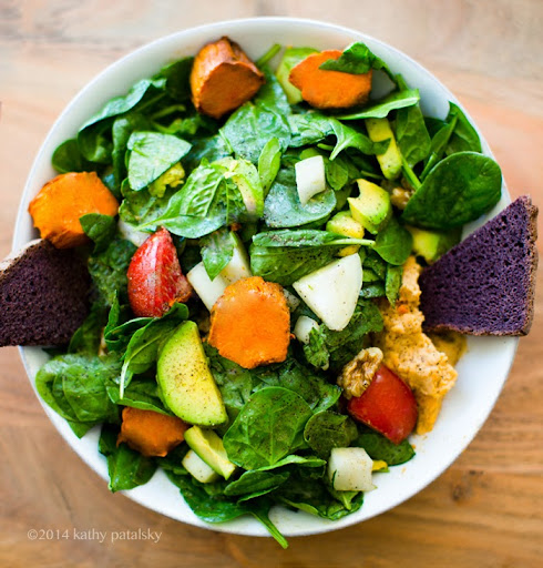 Go-To Salad: Avocado Sweet Potato Maple Tahini Greens