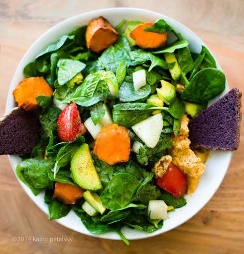Go-To Salad: Avocado Sweet Potato Maple Tahini Greens