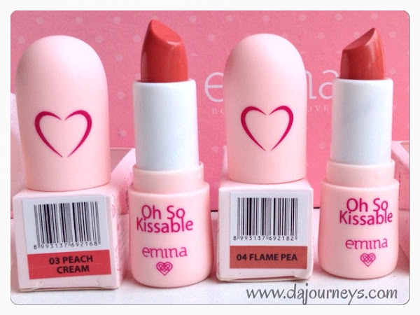 [Review] Emina Cosmetics - Oh So Kissable #3 Peach Cream and #4 Flame Pea