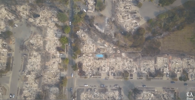 Aerial view of a Santa Rosa, California neighborhood that was destroyed by wildfire, 11 October 2017. Photo: The Los Angeles Times