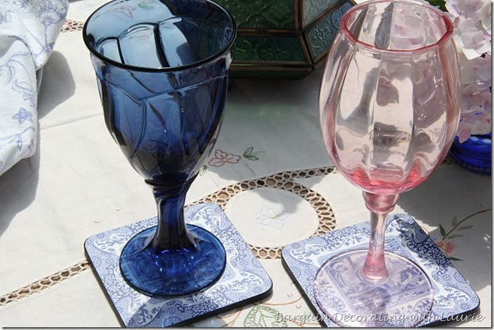 Stemware Blue Mixed with Pink