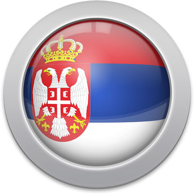 Serbian flag icon with a silver frame