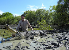 Mr Jack Kolar, USA with a 14 1/2 foot saltwater crocodile, taken at Carmor Plains