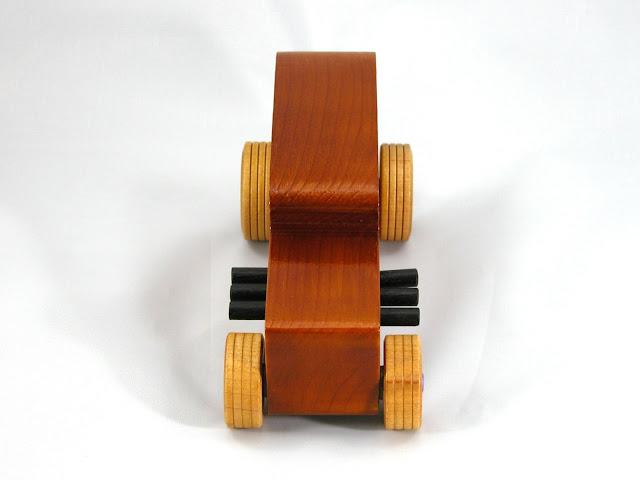 Handmade Wooden Toy Car, Hot Rod 1932 Ford Sedan, Amber Shellac with Metallic Purple and Black Trim