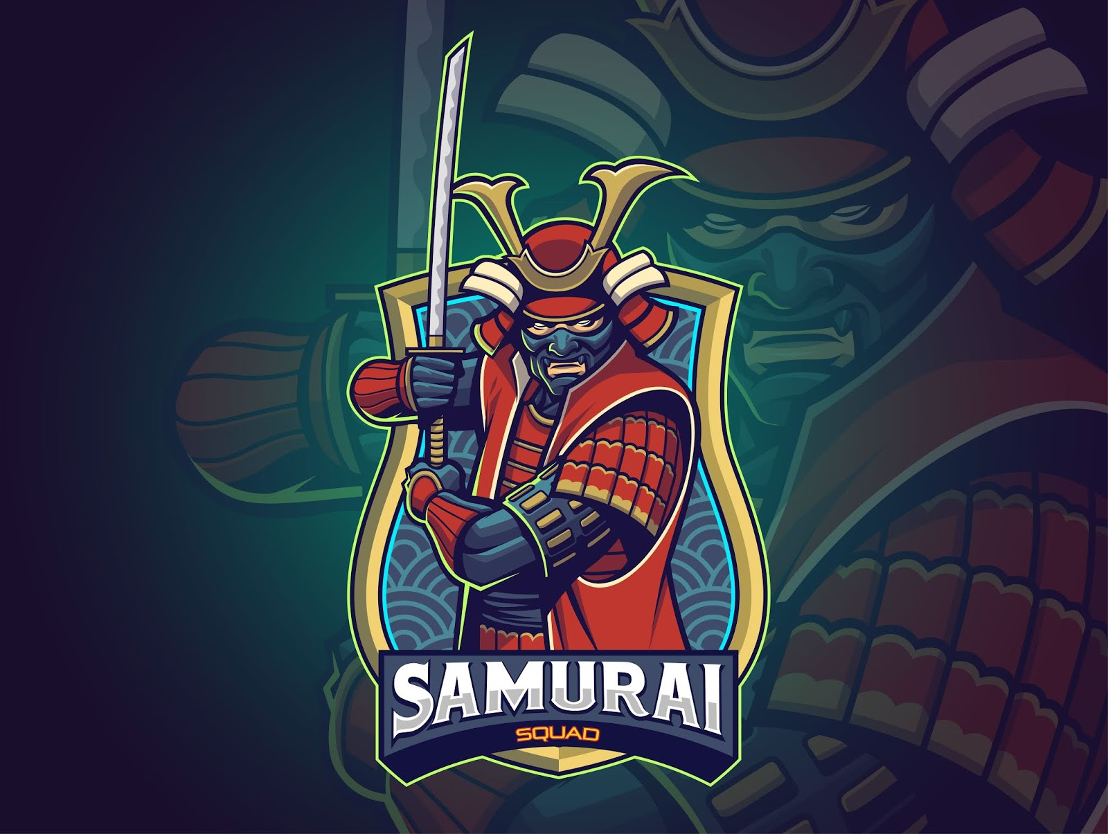 Samurai Esports Logo Your Team Free Download Vector CDR, AI, EPS and PNG Formats