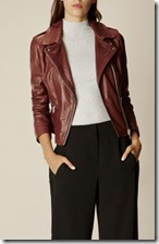 Karen Millen dark red leather biker jacket