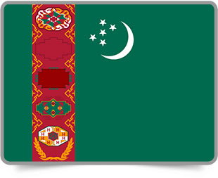 Turkmen framed flag icons with box shadow
