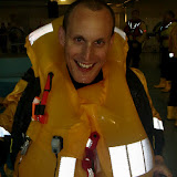 31 May 2012 - Crew Member Rob Inett with new lifejacket inflated. Photo: RNLI Poole/Dave Riley