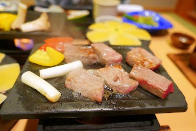 I had two servings of the steak and F took all the vegetables since he's vegetarian as part of our Traditional Dinner in our room at our ryokan Wakakusa no Yado Maruei