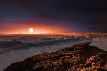 ilustração da vista da superfície do planeta Proxima b