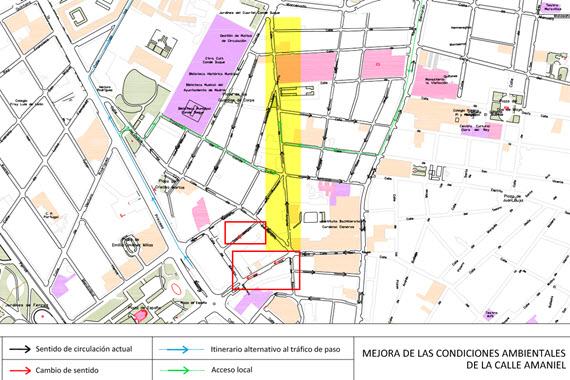 La calle Amaniel soportará menos tráfico - pincha para ampliar el plano